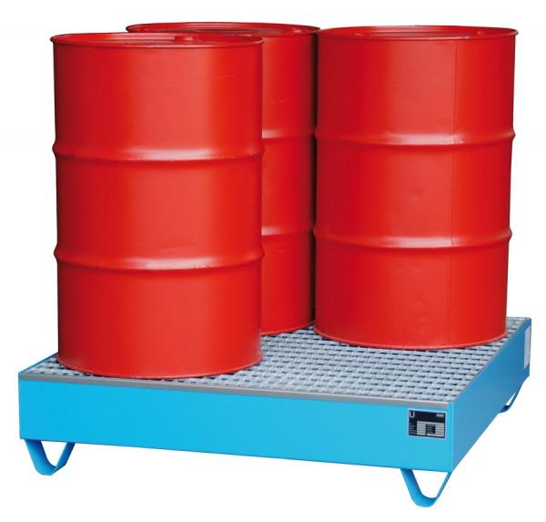 Stahl-Auffangwanne mit Gitterrost für 4 x 200-Liter Fässer Typ 2032/2033