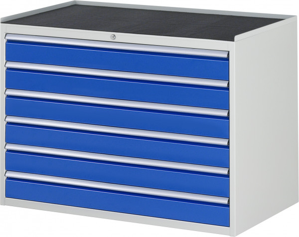 Schubladenschrank mit 6 Schubladen und Metall-Top B 1145 x T 650 x H 825 mm