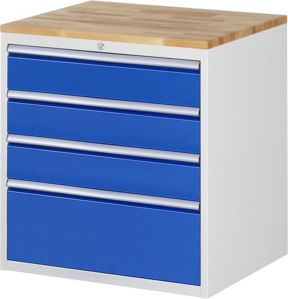 Schubladenschrank mit 4 Schubladen und Buche-Top B 770 x T 650 x H 825 mm