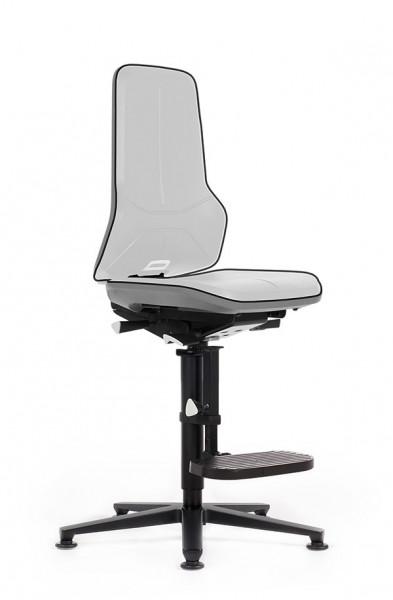 Arbeitsdrehstuhl Neon 9561 Flexband grau mit Bodengleiter + Aufstiegshilfe und Permanentkontakt- Rückenlehne