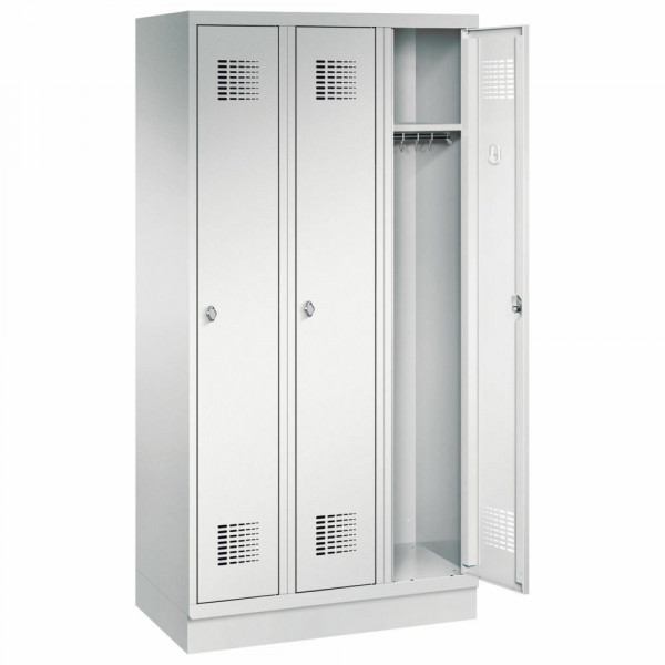 Garderobenschrank 3 Abteile mit Sockel H 1800 x B 900 x T 500 mm