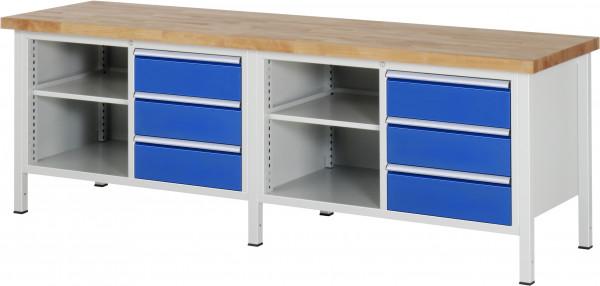 Werkbank B 2500 x T 700 x H 840 mm mit 6 Schubladen und 2 Fachböden