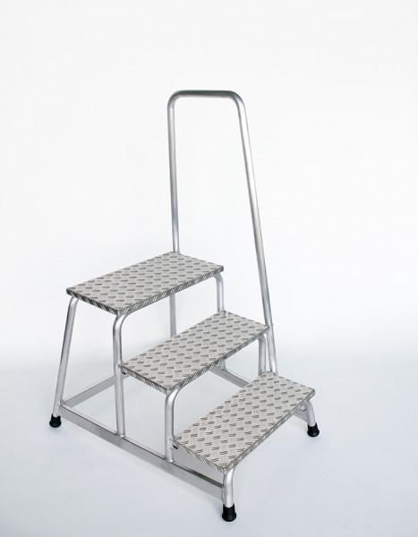 Aluminium-Arbeitspodest starr mit Handlauf, 3 Stufen