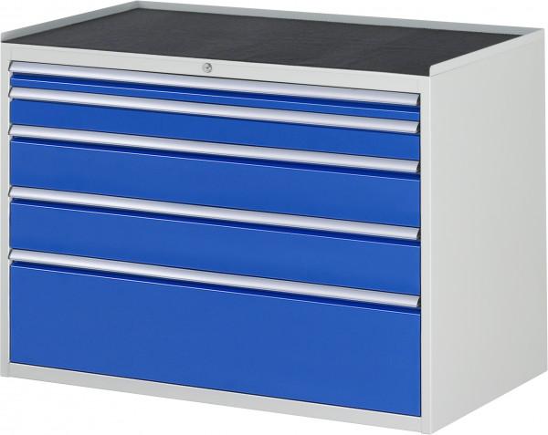 Schubladenschrank mit 5 Schubladen XXL und Metall-Top B 1145 x T 650 x H 825 mm