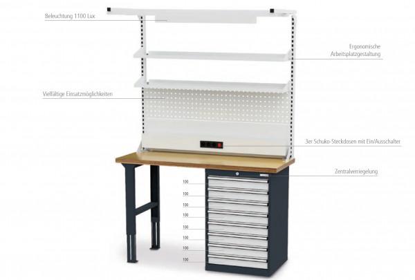 Reihenwerkbank inkl. Werkbankaufbau B 1500 x T 600 x H 960 mm