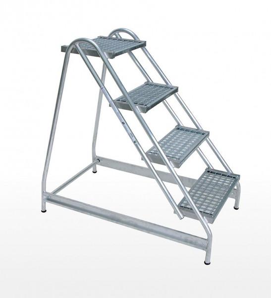 Alu-Arbeitspodest einseitig begehbar, 2 Stufen Stahl-Gitterrost